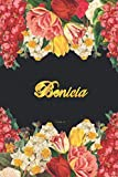 Benicia Notebook: Lined Notebook / Journal with Personalized Name, & Monogram initial B on the Back Cover, Floral cover, Gift for Girls & Women