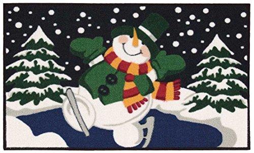 Nourison CJ659 Snowman Skating Accent Decor Green