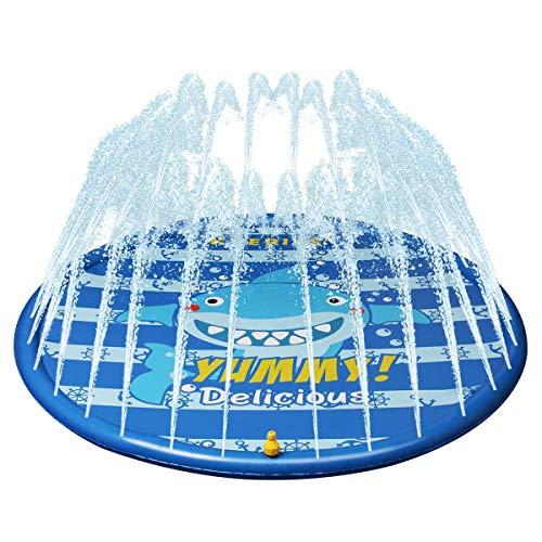 Kyerivs Splash Pad Sprinkler und Splash Play Matte Wasserspielzeug Splash Spielmatte Sommer Garten Outdoor Pool Pad Spritzen für Baby, Kinder, Haustiere ,wasserspielzeug Kinder 59 Zoll