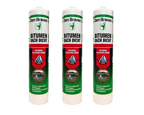 Sparset 3x Den Braven Dachdichtstoff Bitumenkleber zur absolut wasserdichten Versiegelung von Löchern,Rissen uvm. 300ml Kartusche