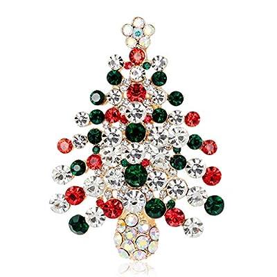 CUIGU Christmas Brooch Pins Ring Bell Rhinestone Jewelry Fashion Xmas Gift Decoration - Christmas Tree No.AL059-A