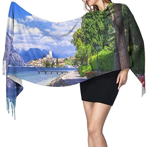Bufanda Fringe Cachemira de imitación Chal Mujer Pintoresco del Lago Di Garda Malcesine Italia la carretera de piedra para bicicletas con flores árboles Lago Imagen Bufanda de invierno de Otoño