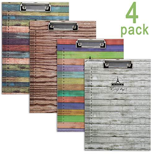WIWAPLEX Niedliches Klemmbrett, Katzen-/Elch-Klemmbrett, A4-Format, Standardgröße, flacher Clip, 22,9 x 31,8 cm, Papierklemmbrett, Aktenhalter zum Schreiben von Zeichnen, 4 Stück Wood Series