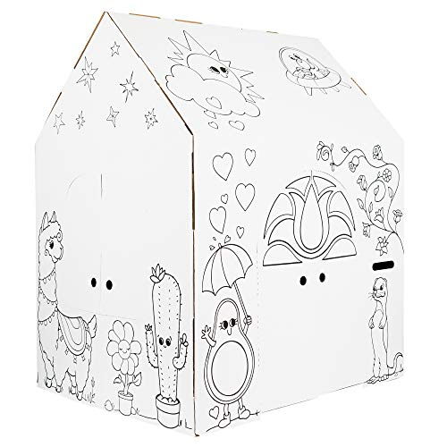 """Easy Playhouse Magical Animal House - Kids Art and Craft for Indoor Fun, Color, Draw, Doodle on Favorite Friends - Decorate and Personalize a Cardboard Fort, 32"""" X 26.5"""" X 40.5"""" - Made in USA, Age 3+"""