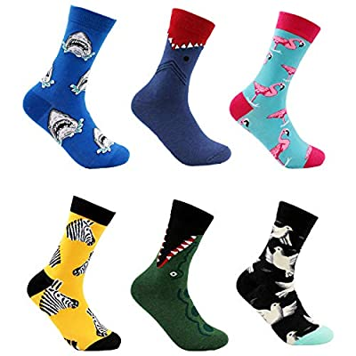 Men's Casual Dress Cartoon Fun Socks Colorful Novelty Funky Anime Shark Flamingo Crew Socks, 6 Pairs