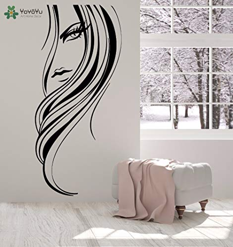 BailongXiao Rahmenlos-Wandtattoo schöne Mädchen Salon Wand Lange Frisur ha