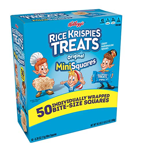 Kellogg's, Rice Krispies Treats Crispy Marshmallow Mini-Squares, Original, Single Serve, Display Box Caddy, 0.39 oz Bars (50 Count)
