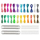 24 Colors Plastic Lacing Cord,Sonku Gimp Bracelet Ropes for DIY Craft Jewerly Making with 30 Pack Snap Clip Hooks and 30 Pack Key Chain Ring Clips,394 Feet