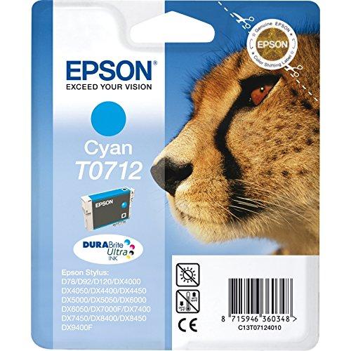 Epson T0712Cyan–Tintenpatrone für Drucker (Cyan, EPSON Stylus D120Epson Stylus D120Epson Stylus D78Epson Stylus D92Epson Stylus D92, Tintenstrahl)