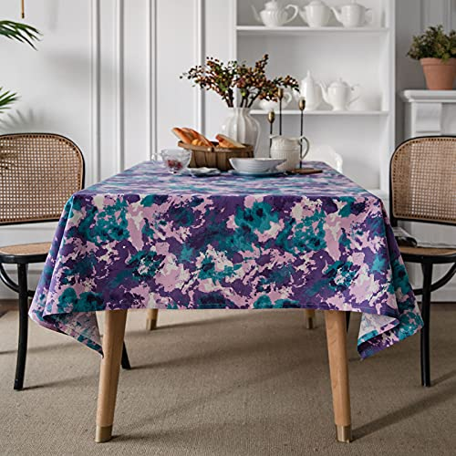 Mantel con Estampado De Tinta Geométrica Verde Púrpura Aislamiento Térmico Grueso Resistente A La Temperatura Mantel Lavable Respetuoso con El Medio Ambiente Adecuado para Comedor En Casa Mesa