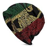 Women Men Stylish Hip-hop Slouchy Beanie Hat Stretchy Soft Daily Skull Cap Lightweight Stretch Sleep Hat - Rasta Reggae Rastafarian Flag Lion King Black