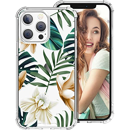 iDLike for iPhone 13 Pro Case for Women Girls, Clear Floral Flower Pattern Cute Design Hard Back Soft TPU Bumper Protective Shockproof Phone Case for iPhone 13 Pro 6.1,Green Tropical