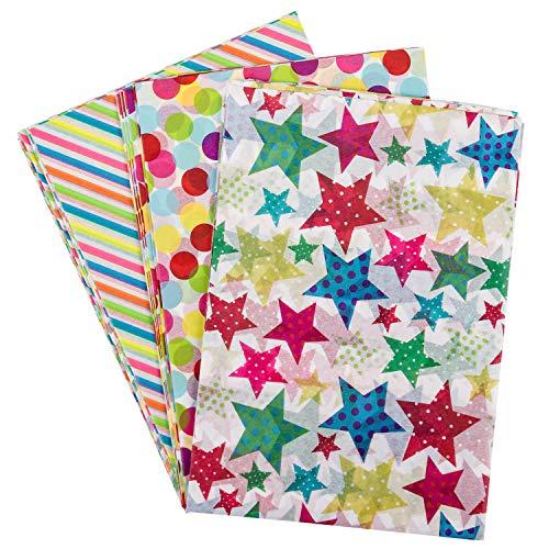RUSPEPA Geschenkpapier Seidenpapier - Buntes Design Seidenpapier für Heimarbeit Bastelarbeit Geschenkverpackung - 50 X 70 cm - 24 Blatt