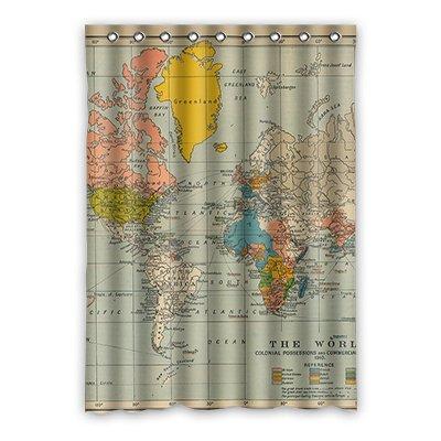 """dalliy Custom de mapa del mundo cortina de ventana poliéster 52""""X 182,88cm aproximadamente 132cm x 183cm (One Piece), poliuretano, B, 52"""" x 72"""""""