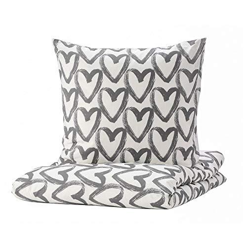 Ikea LYKTFIBBLA - Set di biancheria da letto con cuori bianchi e grigi 140 155 200 240 cm (2 pezzi 155 x 220 cm, federa 80 x 80 cm)