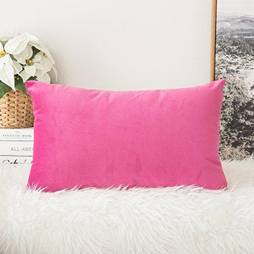 MIULEE Terciopelo Funda de Cojine Funda de Almohada del Sofá Throw Cojín Decoración Almohada Caso de la Cubierta Decorativo para Sala de Estar 30x 50cm 12 x 20 Pulgadas 1 Pieza Rojo Rosado