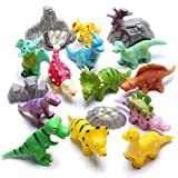 Hely Cancy Dinosaur Bath Squirt Toy, 16 Pieces Assorted Bathtub Squirters with Bucket, BPA Free for Kids Infant Toddlers
