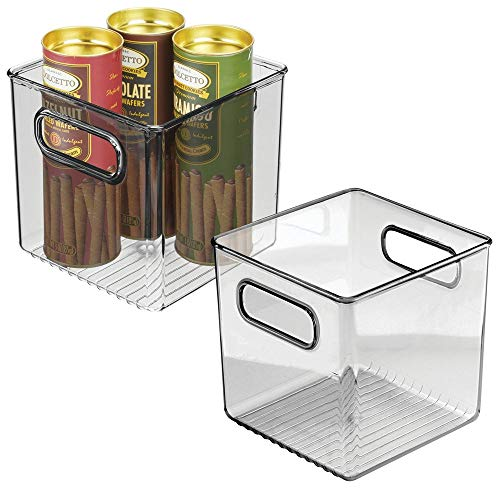 mDesign Plastic Kitchen Pantry Cabinet, Refrigerator or Freezer Food Storage Bin with Handles - Organizer for Fruit, Yogurt, Snacks, Pasta - Food Safe, BPA Free, 6' Cube - 2 Pack, Smoke Gray