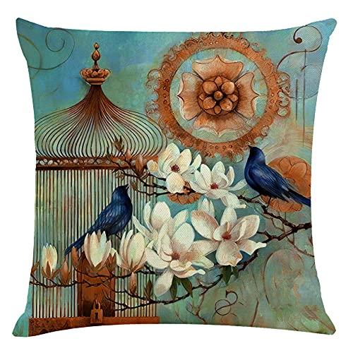 Funda de cojín Jaula de pájaros Abstracta, Funda de Almohada de Lino y algodón, Funda de Almohada Decorativa para sofá Cuadrada, 18 x 18 Pulgadas con Cremallera Invisible