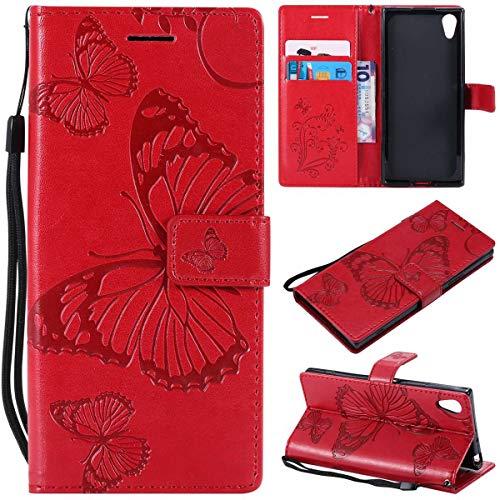Sangrl PU-Leder Hülle Für Sony Xperia XA1, 3D Butterfly Flip Schale Brieftasche Mit Bracket-Funktion Kartenfächer Wallet Hülle Tasche Für Sony Xperia Z6 - Rot