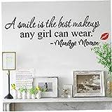 Angoter Sonrisa Maquillaje Arte Cita de Marilyn Monroe Pared de Vinilo Pegatinas Decoración Decal 1PCS