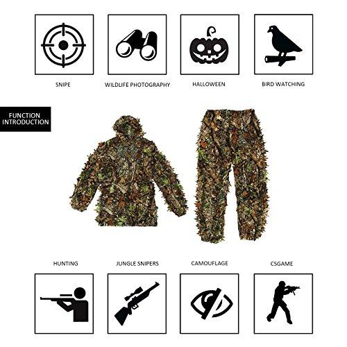 OUTERDO 3D Ghillie Suit Woodland Tarnanzug - 5