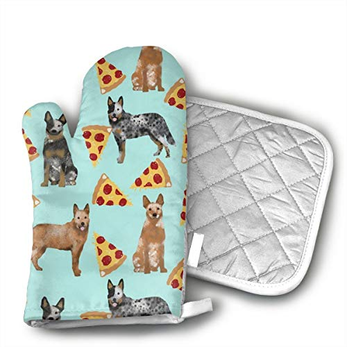 Australian Cattle Dog Blue and Red Heelers and Pizzas Oven Mitts and Potholders (2-Piece Sets) - Kitchen Set with Cotton Heat Resistant,Oven Gloves for BBQ Cooking Baking Grilling