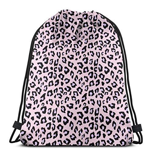 Na - Mochila con cordón, estampado de leopardo, color lavanda, bolsa de gimnasio, portátil, bolsa de almacenamiento para camping, senderismo, natación, compras, senderismo, viajes, playa