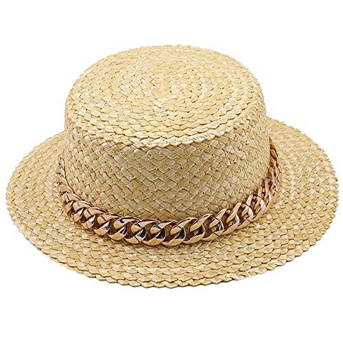 Dameshoed met tarwestro, natuurlijk, gouden ketting, voor meisjes, kanodierhoed, strand, zonnehoed voor dames, zomer, brede rand, beschermt hoeden