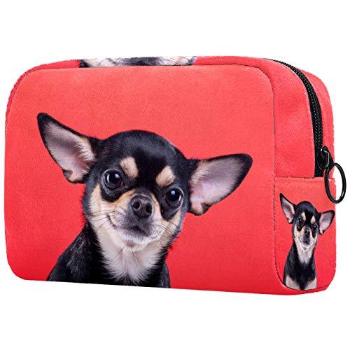 Schminktasche Reise Kosmetiktasche Tasche Geldbörse Handtasche mit Reißverschluss - Schöner Chihuahua Hund