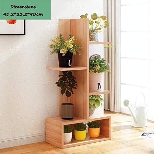 YINUO Plancher en bois simple et élégant suspendu à un support de plaque d'orchidée multicouche étagère à panier à fleurs couleur du bois Taille: 41.2x21.2X90CM
