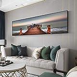 N / A Sussex Natural Puente de Madera Paisaje Lienzo Pintura Carteles e Impresiones Pared Arte Cuadros Sala decoración del hogar Pintura sin Marco 21cmX56cm