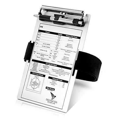 Destination Departure Pilot Kneeboard – Aluminum Pilot Writing Board – 5.5 x 8 Inch Knee Board Clipboard – Metal Clip and Practical Pen Holder – Comfortable Elastic Strap
