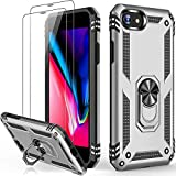Silver iPhone 8 Plus Case,iPhone 7 Plus Case with Glass Screen Protector,Military Grade 16ft. Drop Tested Protective Phone Case with Magnetic Car Mount Kickstand for iPhone 7 Plus/iPhone 8 Plus