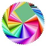 Baoweihua Origami Papier, 100 Blatt 50 Farben 20 x 20cm Farbiges Bastelpapie mit 200PCS Wackeln Sie mit den Augen für Weihnachten Origami DIY Kunst und Bastelprojekte