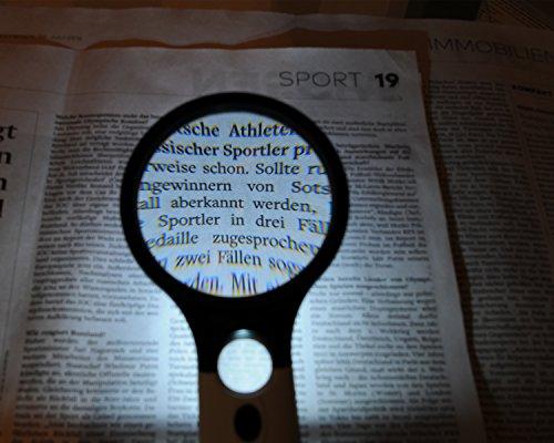 Profi Leselupe 6x Komplett-Set – Hochwertige LED Lupe mit Lese-Licht – 3x und 45x Vergrößerungsglas + Tasche inkl. Zubehör – für Senioren & zum Verschenken - 8