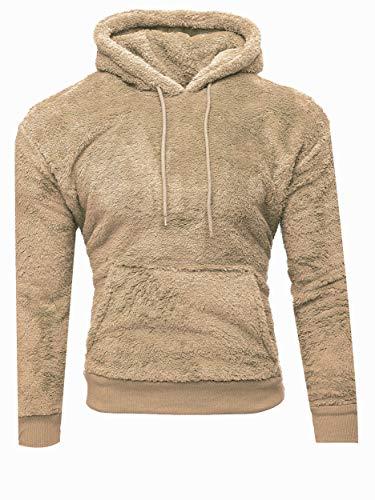 Kayhan Miękka pluszowa męska bluza z kapturem, sweter z kapturem, sweter z kapturem, bluza z kapturem Teddy Fleece z kieszeniami, beżowy, S