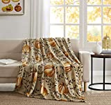 Morgan Home Fashions Velvet Plush Throw Blanket- Soft, Warm and Cozy, Lightweight for All Year Round Use 50 x 70 Inches Soft Velvet Plush in 5 Styles (Welcome Fall)
