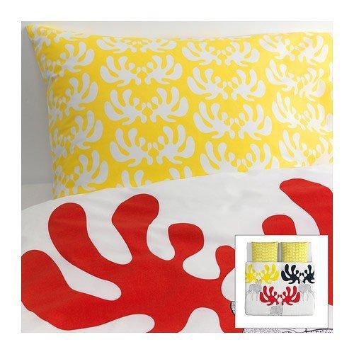 IKEA Bettwäsche 3er Set ÄNGSSPIRA 240x220cm und 2x 80x80cm Kopfkissen Bettbezug 100% Kammgarnbaumwolle