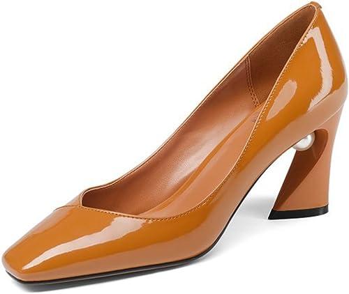 CBDGD Chaussures pour Femmes en Cuir à Talons Hauts Escarpins Chaussures de Travail Four Seasons Talons Hauts (Couleur   Caramel, Taille   36)