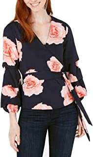 Bar III Floral-Print Surplice Blouse Top Navy Size Large