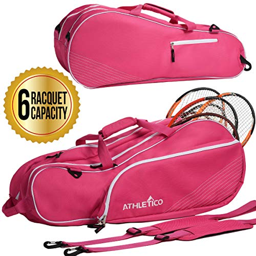 Athletico 6 Racquet Tennis Bag | Padded to...