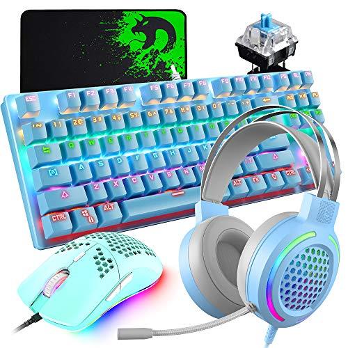 Urworthltd メカニカル ゲーミングキーボードセット 青軸 有線 87キー 軽量 3.5mmヘッドセット マイク付き プログラマ可能 防衝突 6400DPI ハニカム 有線ゲームマウス マウスパッドセット 日本語取り扱い書 (Blue)