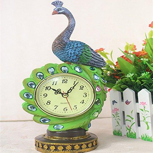 L Y Harz Handwerk Ornamente Stil Pfau Uhr Handwerk Dekoration Home Office Studie Dekoration,Ein,12x9x30cm
