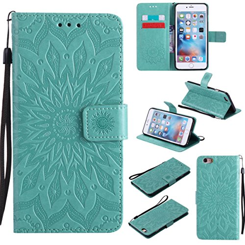 iPhone 6S Plus Case,iPhone 6 Plus Case, [Durable] Lightweight Flip Kickstand Folding Case with Credit Card Holder Xmas Birthday Gift for Daughter for Apple iPhone 6S Plus -Sunflower Green