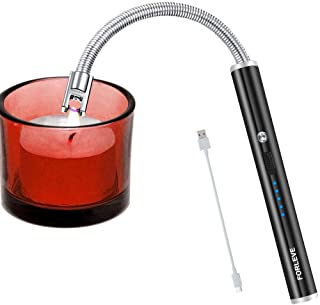 Candle Lighter, Electric Lighter, Rechargeable Camping Lighter, Arc Windproof Flameless USB Firework Lighter, LED Battery Display, Safety Switch, Longer Flexible Neck Lighter for Kitchen BBQs (Black)