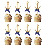 Nautical Cake Decorations Anchor Cupcake Toppers Picks for Ocean Navy Theme Party Baby Shower Birthday Wedding Party Decorations 20Pcs