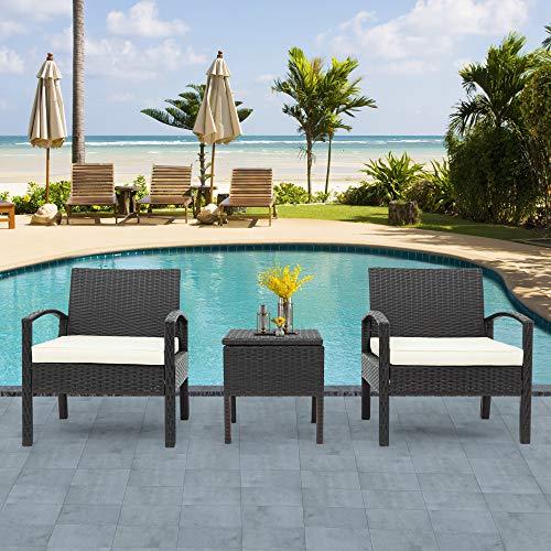 ZOEON Polyrattan Sitzgruppe für 2 Personen Gartenmöbel-Set, Rattan Lounge Sitzpolster und Tisch Balkonmöbel Set, Garten möbelsets, Sofa & 2 Stühlen (Braun)