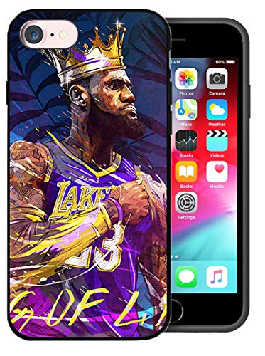 Compatible con Funda para iPhone 7/8 / SE 2020, Tema de Estrella de Baloncesto diseñado para Funda de 4,7 Pulgadas para iPhone 7/8 / SE 2020 (King-Lebron-Crown)