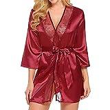 BHYDRY Conjuntos de lencería Mujer Pijamas Rosa Flor Encaje Atractivo tamaño Completo